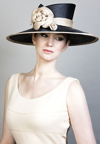 Rachel Trevor Morgan Millinery SS 2016 | R1669 - Navy parisisal straw hat with handmade straw camellias