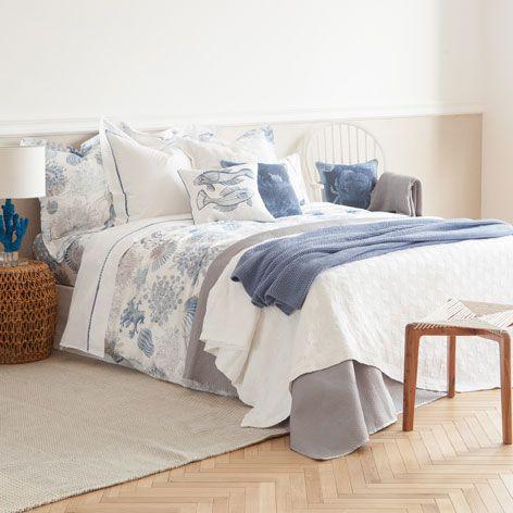Manta Algodón Granitos Azul - Mantas - Decoración   Zara Home España