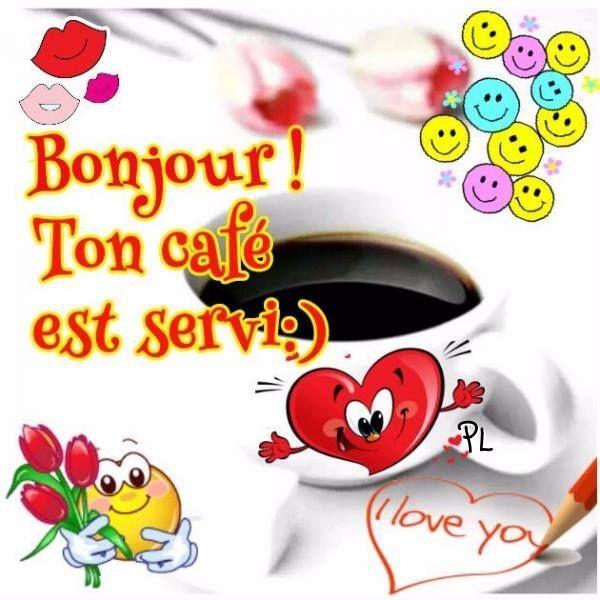 Bonjour image #6130 - Bonjour ! Ton café est servi :) - Bisous, Bonne Humeur, Cafe, Coeur, Fleurs, Réveil, Smileys. Partager cette photo sur Facebook, Twitter et WhatsApp.