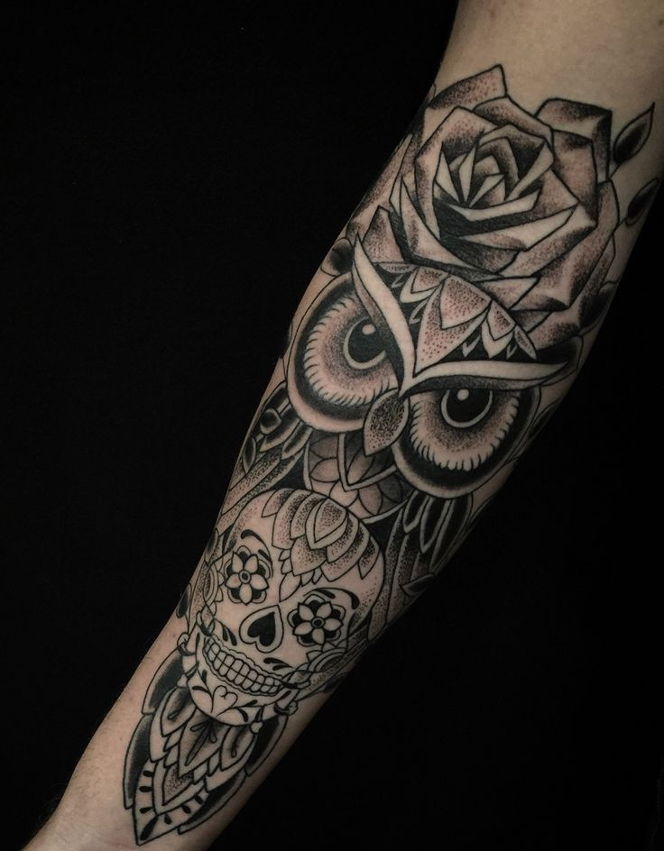 Owl and sugar skull from Charlie at Guru in San Diego, CA.