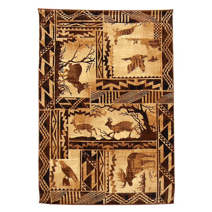 This natural color lodge design area rug features forest scene with moose, deer, eagle, goose and fish on a beautiful southwestern pattern border design. This rustic rug adds an adventurous touch to any decor or space.