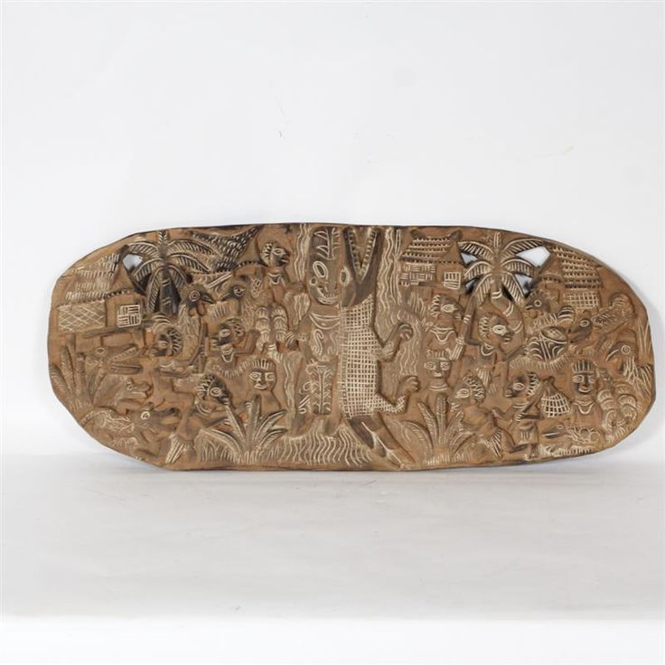 "Papua New Guinea; large and detailed bas relief wood carving Kambot story board decoration. H 34"" x W 14"""