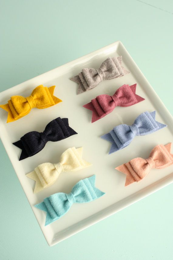 Felt Bow A Pinch of Peach little girl hair clips #felt_bow #hair_clip #clip #felt
