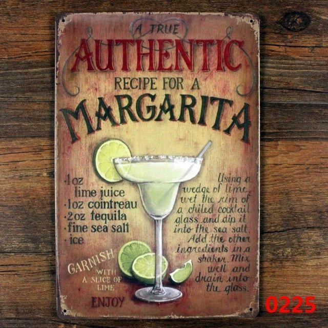 Истинный подлинный рецепт для маргарита! марочный знак ретро металл олово признаки железная пластина живопись декор стены бар кафе клуб