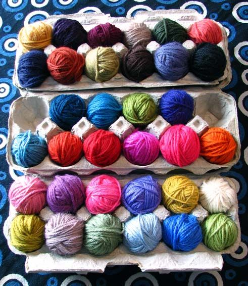 Yarn eggs! Cute idea for storing scraps! From Getting Stitched on the Farm