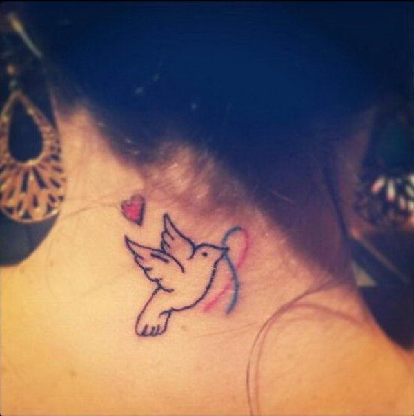 21 bird and ribbon on neck