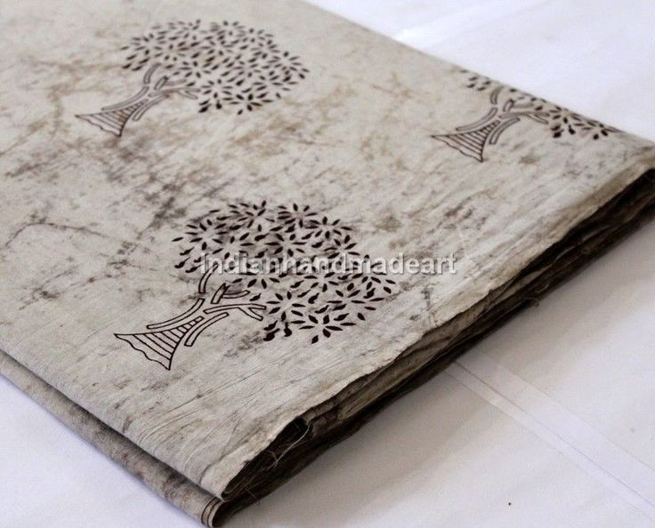 Sold By Yard Indian HandBlock Tree Print Fabric 100% Cotton Natural Dye Fabric A #Handmade