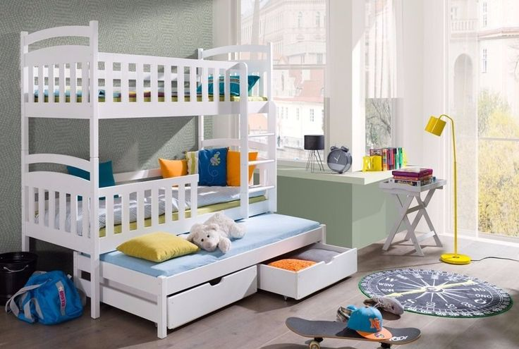 Triple Bunk Beds - WHITE Wooden Three Sleeper With Drawers - New Bunk Bed for sale on gumtree and eBay