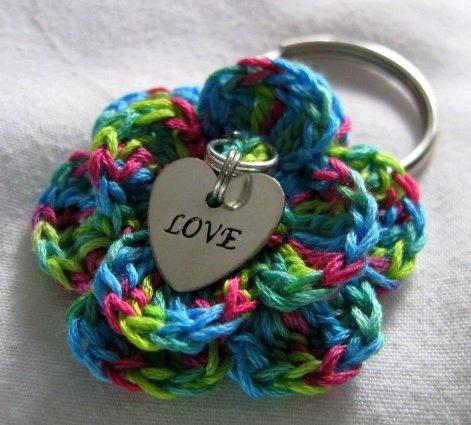 Crochet Flower Keychain Tie Dye Key Ring Love by wuglyees on Etsy, $10.00