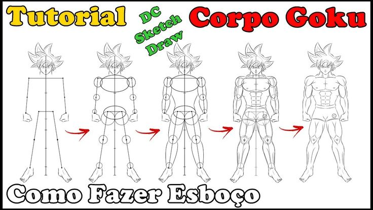 how to draw goku body
