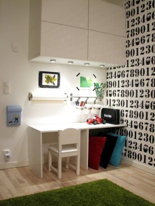 Great idea for kids art desk- Cabinets overhead for storage with lighting underneath. Is that a mailbox on the wall- awesome!