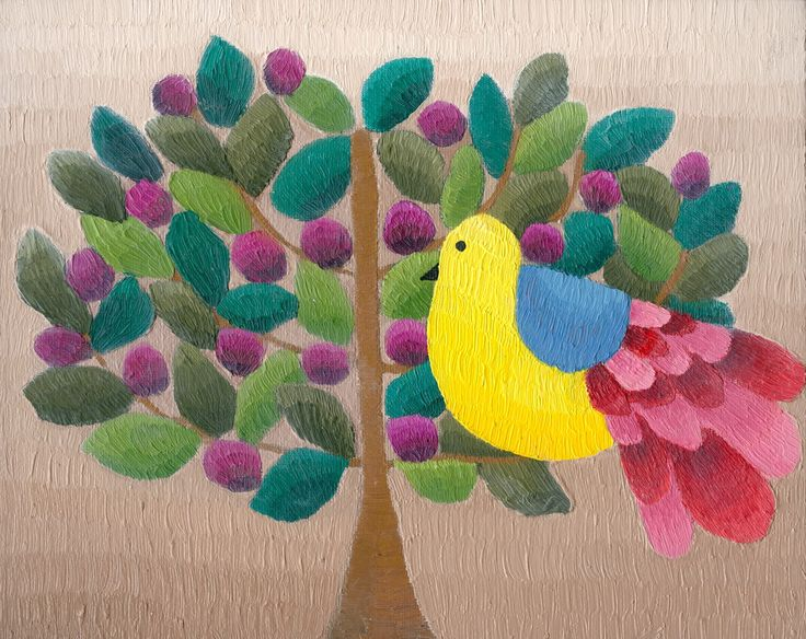 Bird and Lillypilly, oil on canvas board, Elisabeth Howlett, 2014
