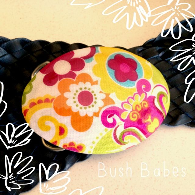 Navy Plaited Leather Belt with Funky Floral resin buckle.  Available in any size. www.bushbabes.com.au www.facebook.com/BushBabes