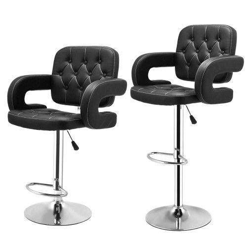 2Pc Breakfast Barstools Faux Leather Black Swivel Gas Lift Chairs Kitchen Stools #SmartDealsMarket