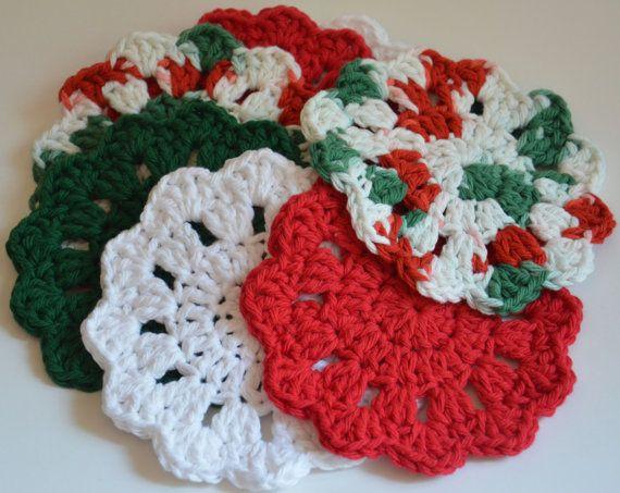 Crochet Christmas Coasters (Set of 8) - TREASURY Item
