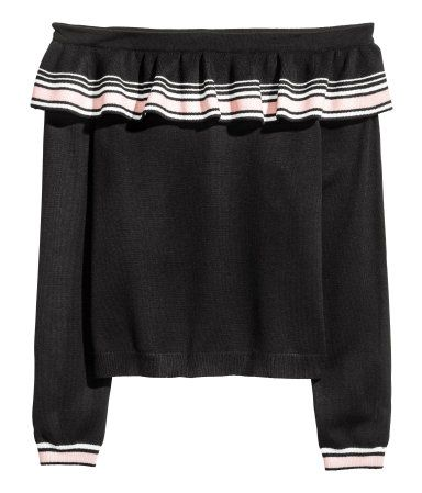 Black/striped. Off-the-shoulder sweater in a soft knit with a flounce at top and long sleeves.