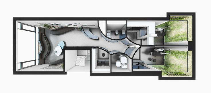 Fluid Dental Polyclinic Izometric Plan Minimal Zen Garden- iç mimari -dişçi –klinik -eğimli yüzey -eğri hat –beyaz –tasarım –akışkan –form –bekleme -akrilik-eğri cam- eğri duvar -fütüristik  -ağ –bahçe –dikey bahçe –zen -sağlık –konsept –poliklinik –mobilya