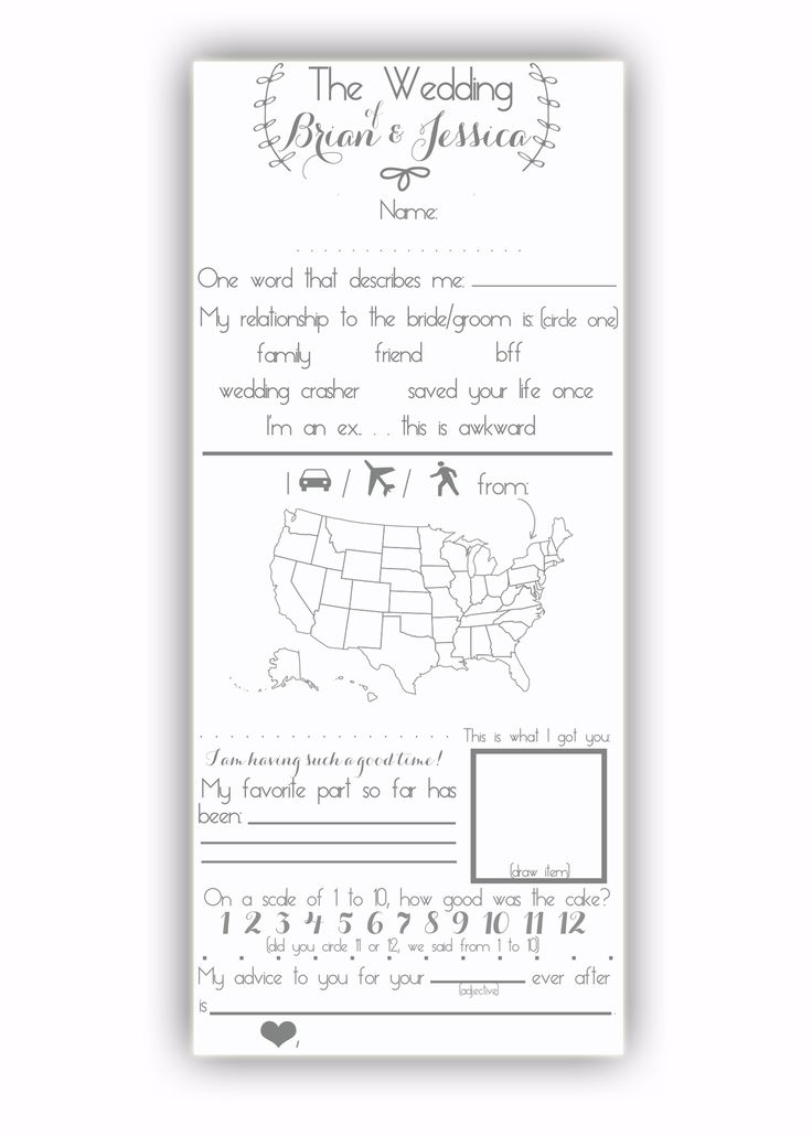 Fun Questionnaire for your guests to fill out at the reception! Now in the shop!