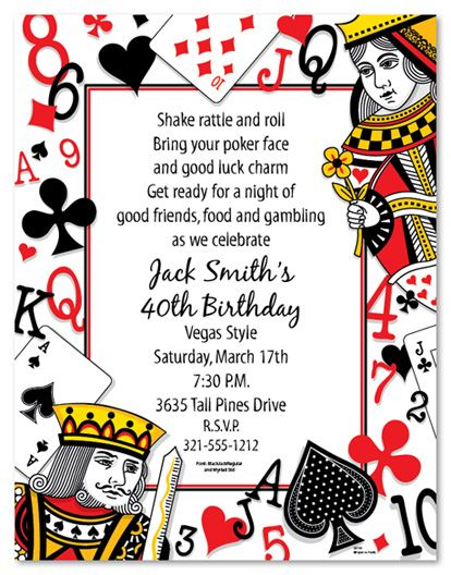 Playing Cards Stationery 8 5x11 Pack Of 100 Sheets Party Invite In 2018 Pinterest Invitations And