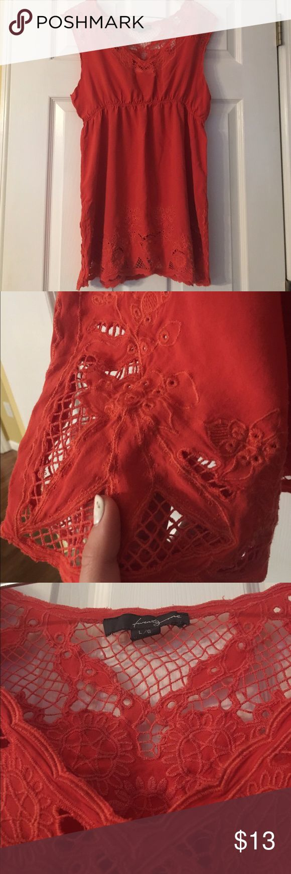 """Twenty One Dress🖌 Really really cute dress.. A red/orange color. Has cute sewn patterns and designs! Is true to size but will be a bit short if you are over 5'5"""". Comment with any questions or other concerns! It's in near perfect condition and an awesome spring/summer dress😍☀️ offers are very welcome poshers!!! Twenty One Dresses"""
