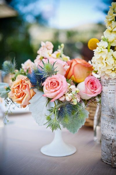 Eco Friendly Rustic Shabby Chic Vintage Blue Pink Yellow Centerpiece Wedding Flowers Photos & Pictures - WeddingWire.com