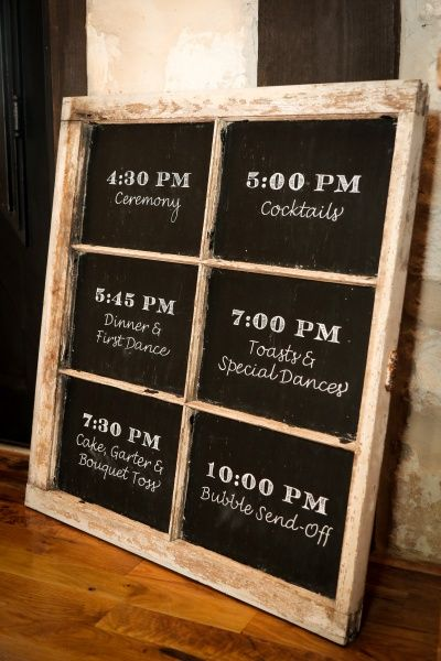 Beautiful, rustic wedding sign with the wedding schedule!  Perfect for a woodsy or country wedding.  Wedding inspiration, wedding ideas, wedding decor, southern wedding.
