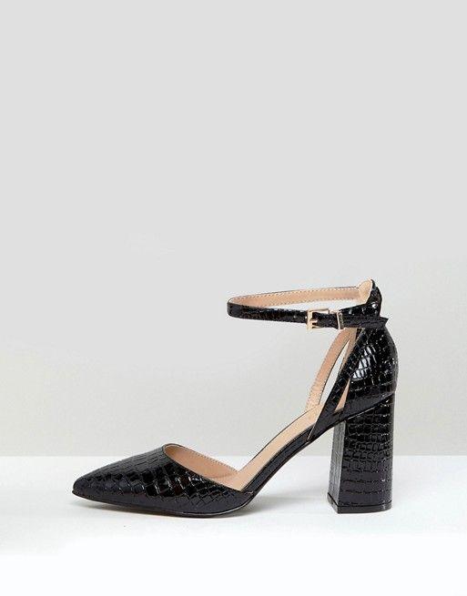 bfc02f54b53c05 RAID Katy Black Croc Heeled Shoes in 2019