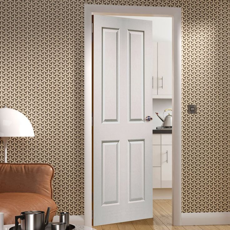 Bespoke Victorian 4 Panel Fire Door with Woodgrained Surface - 1/2 Hour Fire Rated and White Primed  - Lifestyle Image.  #internalfiredoor #bespokefiredoor #woodenfiredoor
