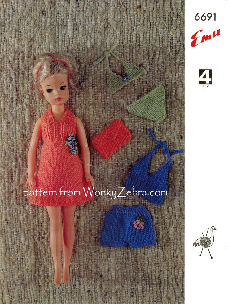 Vintag doll pattern Sindy Holiday Outfit Emu6691 for teen doll like Sindy. Holiday theme with a pretty dress and bag, bikini and halter top shorts set. PDF from WonkyZebra WZ738
