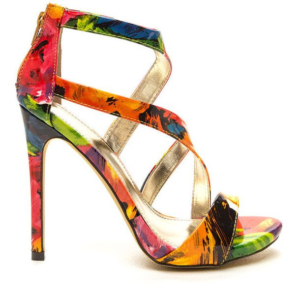 MULTI Swooping In Floral Faux Patent Heels (£11) ❤ liked on Polyvore featuring shoes, pumps, multi, high heel shoes, floral pumps, vegan shoes, high heel platform pumps and strappy platform pumps