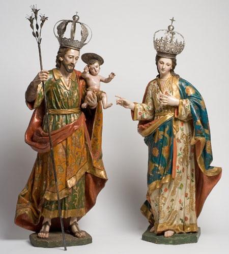 Sagrada Familia Autor desconocido Siglo XVIII Madera tallada, estofada y policromada 184 X 86 X 63 cm. Colección Museo de Historia Mexicana