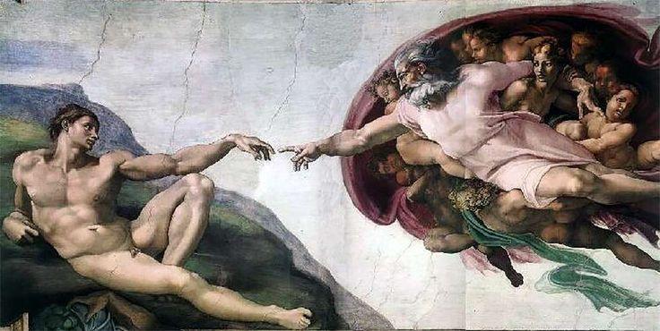 «Сотворение Адама», фреска в Сикстинской капелле работы Микеланджело (The Creation of Adam - a fresco in the Sistine Chapel of Michelangelo's work)