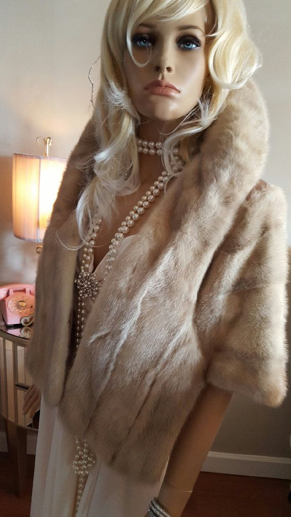 LUXURY VINTAGE Mink Stole Fur Cape Palomino by LuxuryVintageGirl