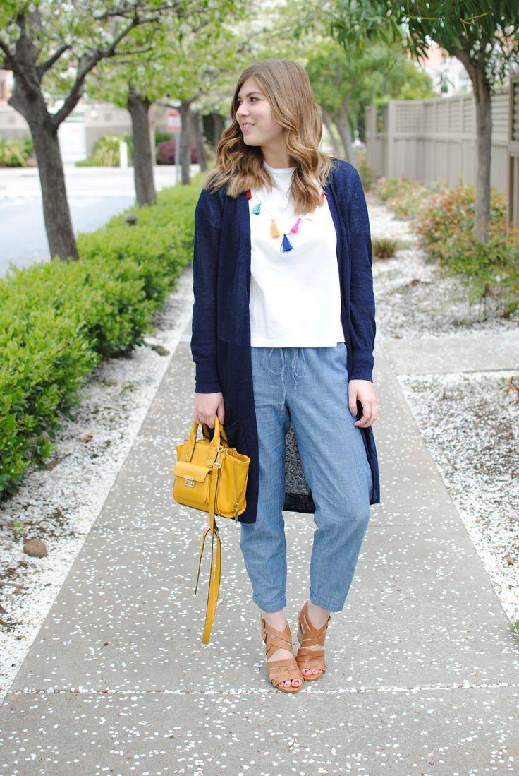 spring outfit: tassel top + chambray drawstring pants
