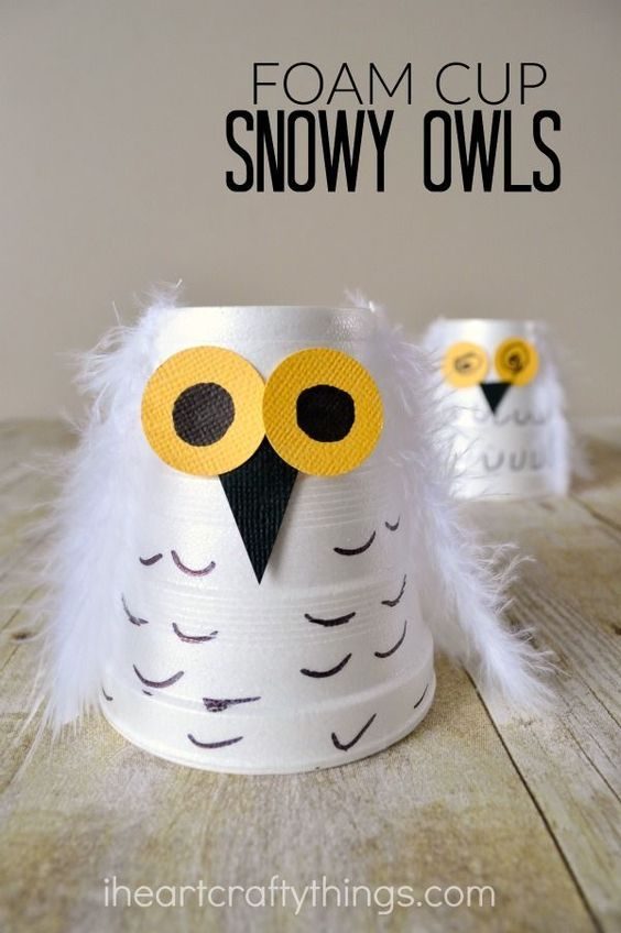 Make a cute snowy owl kids craft out of a small foam cup. Great winter craft for kids or for learning about arctic animals.