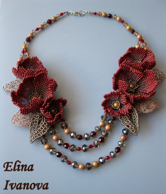 Beaded Flower necklace exclusive handmade bib by Elinawonderland