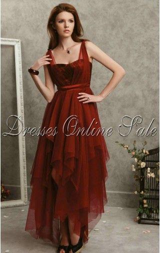 Charming A-line Asymmetrical Spaghetti Straps Burgundy Elastic Woven Satin Dress