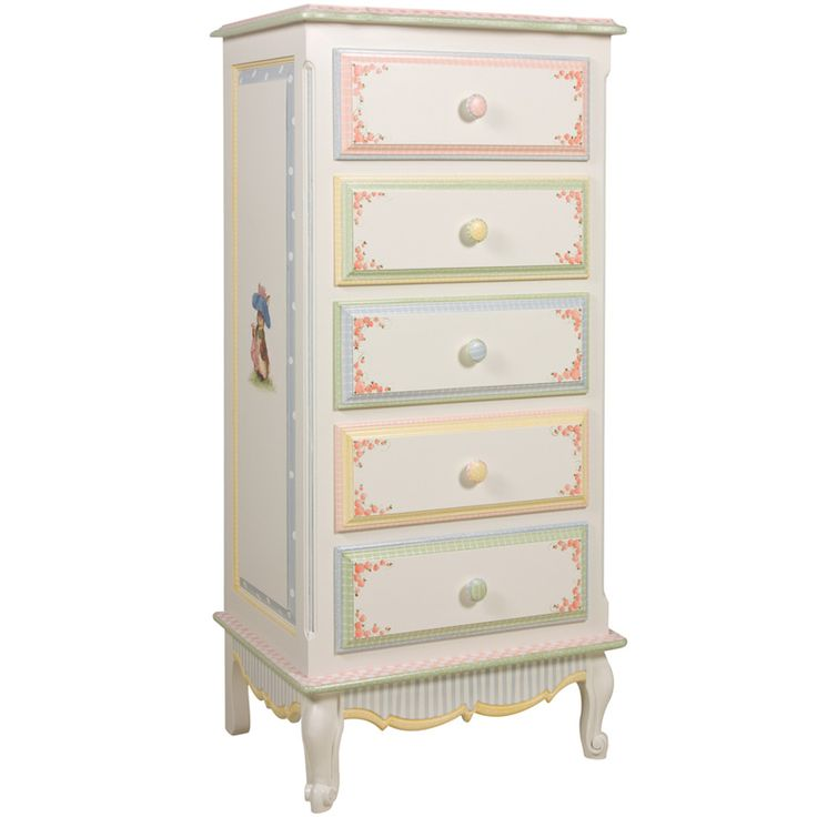 French Lingerie Chest in Antico White with Enchanted Forest Motif