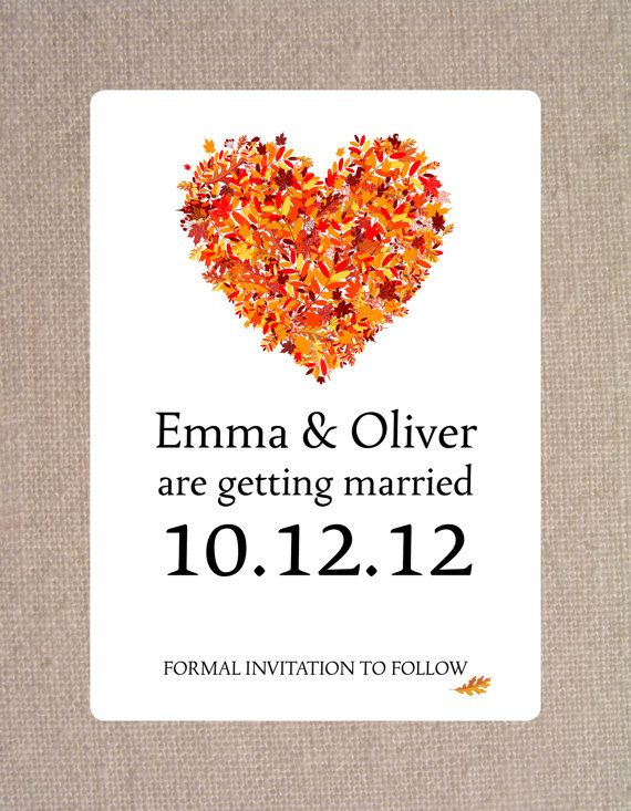 save the date autumn fall heart of leaves card stock or magnet