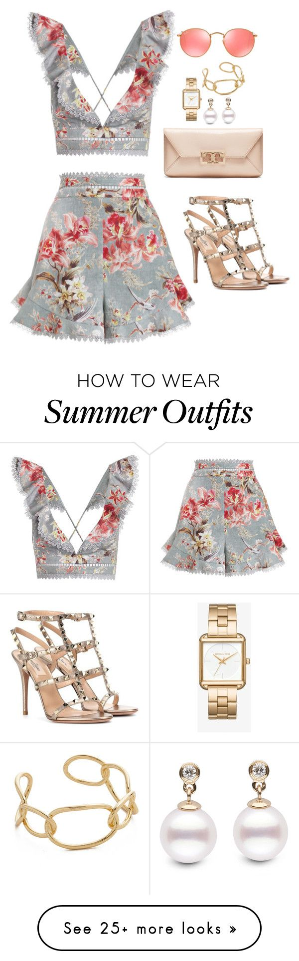 """Outfit 476"" by caa123 on Polyvore featuring Zimmermann, Valentino, Tory Burch, Michael Kors, Jules Smith and Ray-Ban"