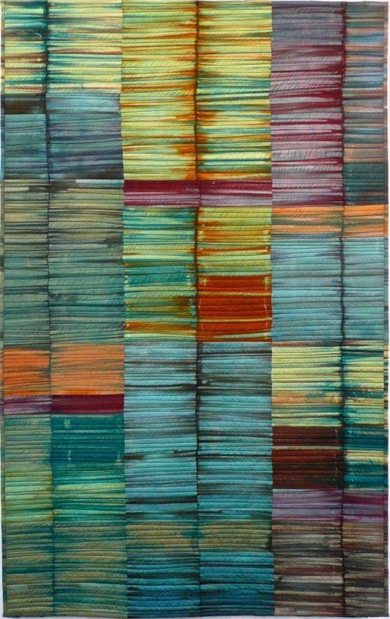 """Karen Farmer, Waterline 2  31"""" x 26"""": Karen Farmers Waterline, Quilts Inspiration, Karen Farmerwaterlin, Karen O'Neil, Watercolor Paintings, Textiles Art, Art Quilts, Fiber Art, Textile Art"""