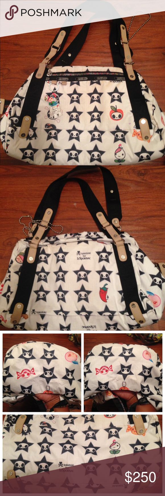 Tokidoki Lesportsac Adios Star Skull Gioco Tokidoki Lesportsac Black White Adios Star Skull Gioco Handbag Purse Bag Qee  PreLoved  Has Qee   RIRI zipper , runs smooth   Corners and stitching is tight  Liner is very clean   Bottom a little dirty not really noticeable tokidoki Bags Satchels