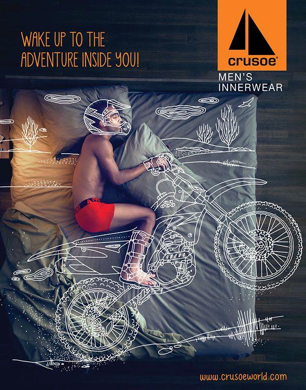 Publicité originale pour des pyjamas & sous-vêtements Crusoe #ads #advertising #m2mediascom