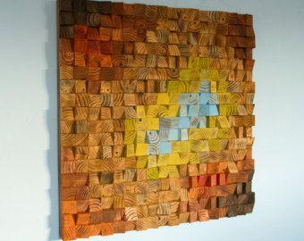Reclaimed Wood wall Art wood mosaic geometric art wood wall