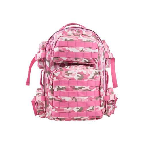Tactical Backpack, Pink Camo The NcSTAR Vism Tactical Pink Camo Backpack features the perfect size to carry a days supply of essential gear. Multiple compartments and MOLLE webing to organize and customize your backpack to your needs. It has hydration bladder compatible, with drink tube routing onto either Padded shoulder straps with metal D-rings and adjustable compression straps on the sides of the back pack and adjustable sternum and waist straps. $29.99