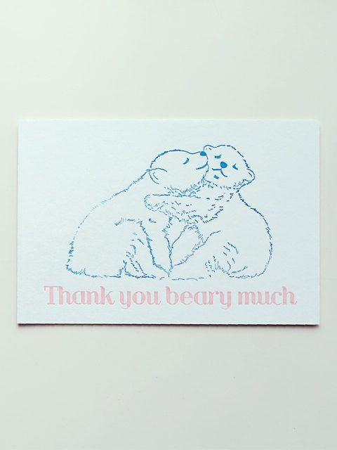 Thank you beary much letterpress postcard by studiosmalls on Etsy