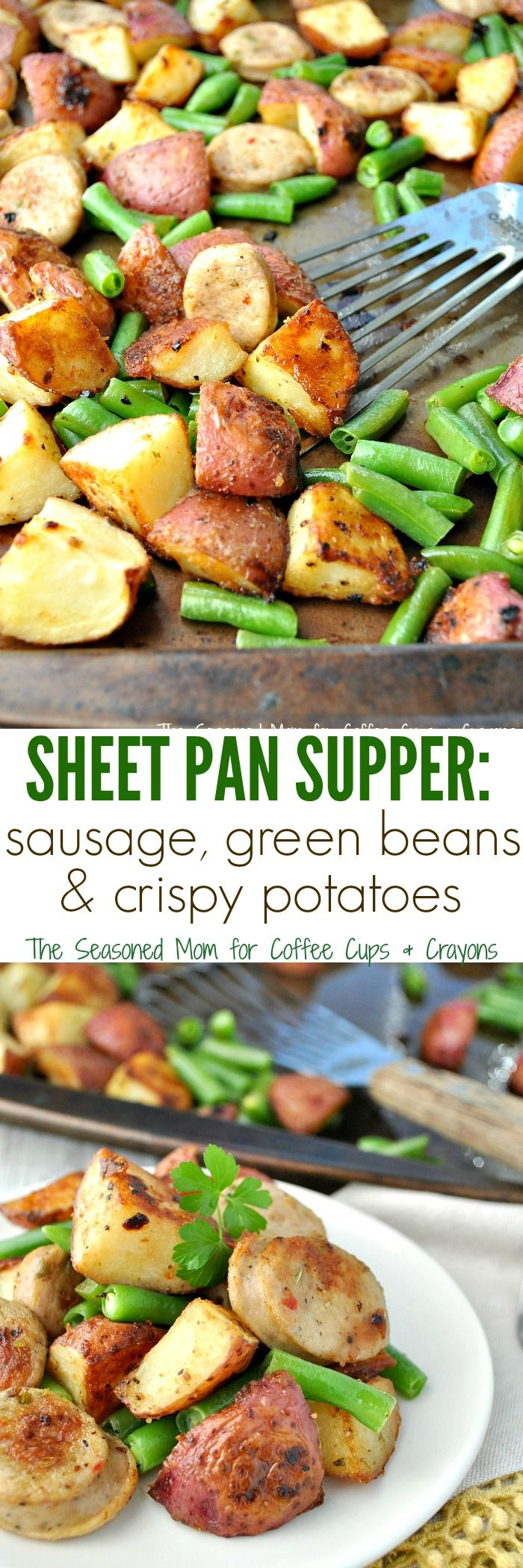 This Sheet Pan Supper is loaded with perfectly-seasoned and crispy potatoes, sausage, and green beans for an entire meal that cooks on one tray -- with very little prep and very little cleanup!