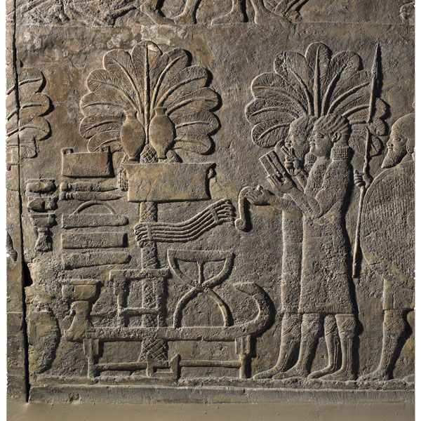 The panels depict a variety of scenes, including the transport of huge sculptures of human-headed winged bulls (lamassu) that weigh up to 30 tons and were intended for the main entrances to the palace.