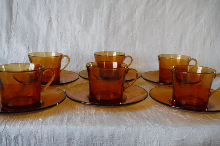 Amber Glass Cup and Saucers / Vintage Vereco France / 1970's / Tea or Coffee Servers / Retro Mod / Set of 6 by OriginalVintageGypsy on Etsy