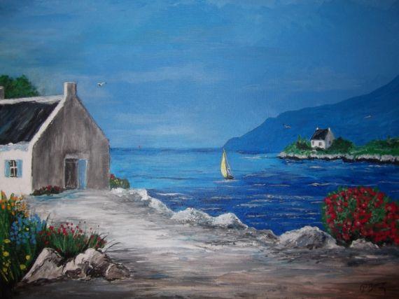 Tableau Peinture Mer Bretagne Paysage Bateau Marine Acrylique